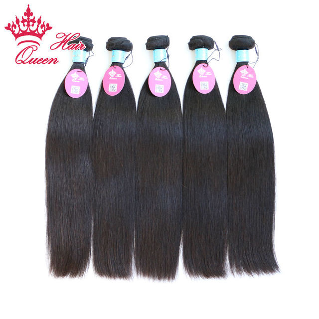 "Queen Hair 100% Unprocessed Virgin Human Hair Cambodian Straight 8""-28"" 5pcs/lot DHL Free Shipping"