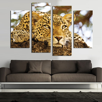 4 PCS Free Shipping Hot Sell Modern Wall Painting Animal The Leopard Home Decor Canvas Painting