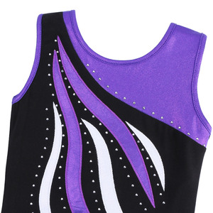 Купальник BAOHULU для девочек-подростков, гимнастический купальник для девочек-подростков, без рукавов, со стразами, в стиле пэчворк, Детская Одежда для танцев