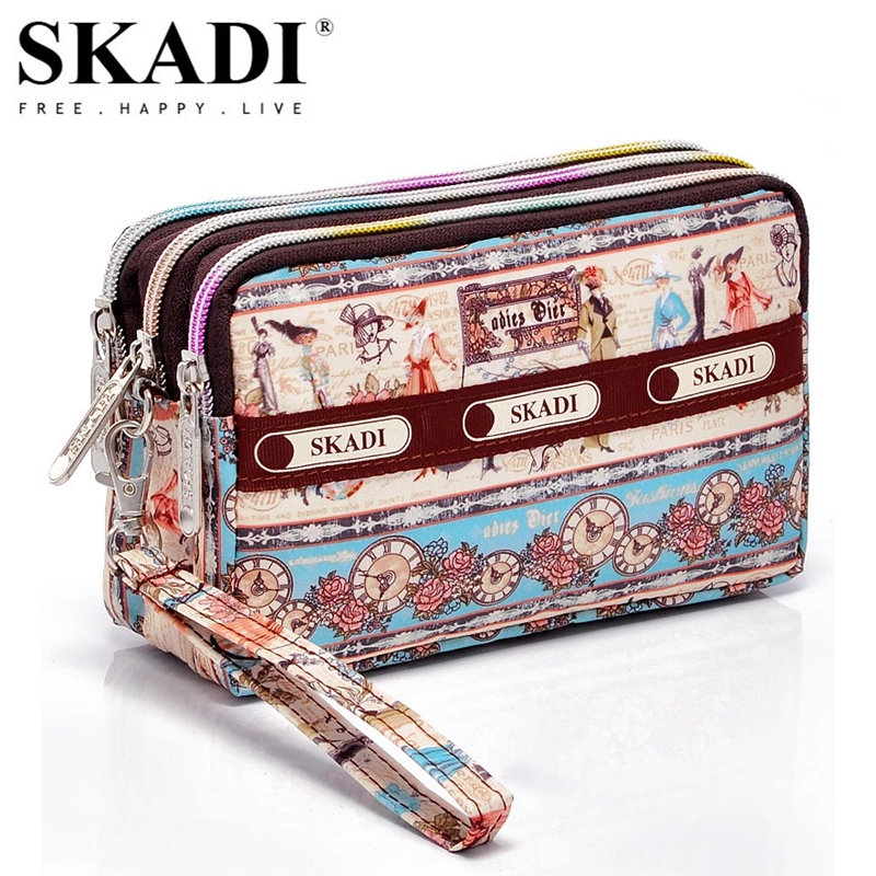SKADI Women Purse Short Design Brand Wallet Coin Clutch Bags Phone Bag Zippers Russia Lady Gift Cute Dots Floral Flower Sac dachshund dog design girls small shoulder bags women creative casual clutch lattice cloth coin purse cute phone messenger bag