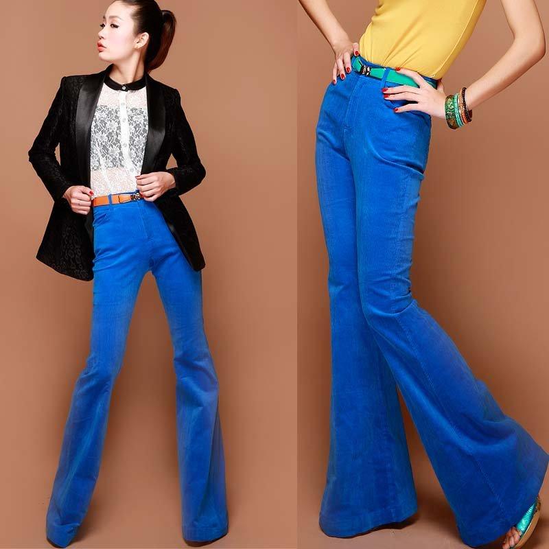 boot cut spring autumn fashion designer ladies women's slim blue ...