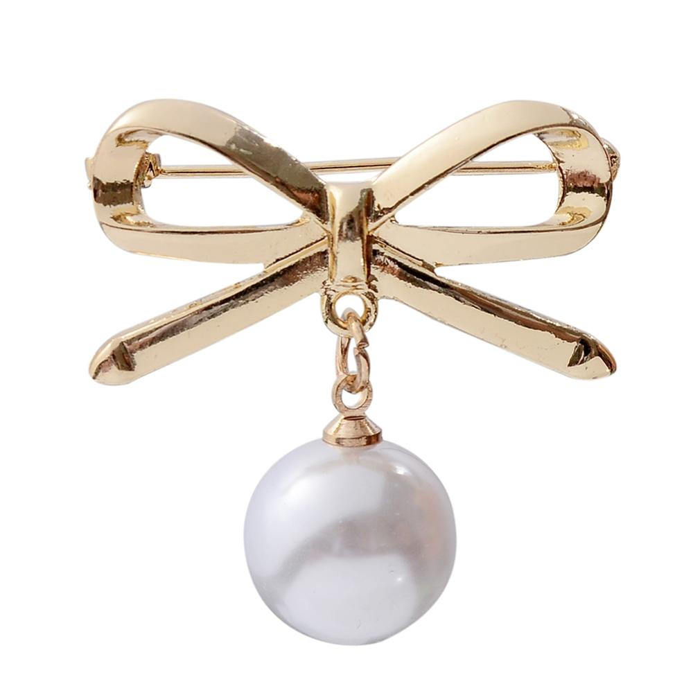 Fashion Classic Big Golden Bow Pearl For Women Brooch Pin Antique Coat Dress Corsage Jewelry Accessary