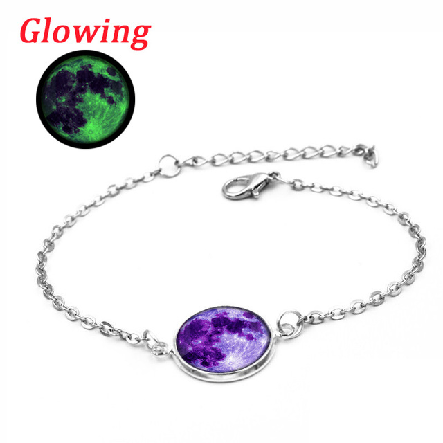 Summer Style Glow In The Dark Galaxy Moon Bracelets For Women Fashion Accessories Silver Chain Link