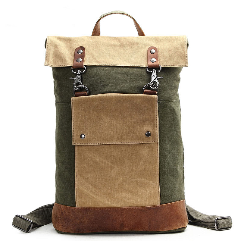 LAPOE Quality Leather Canvas Backpack Men Military Backpack Boy Girl Vintage Thick Canvas School Backpack Shoulder Bag Rucksack army green canvas backpack bag rucksack army military backpack leather canvas book bag rucksack school bag
