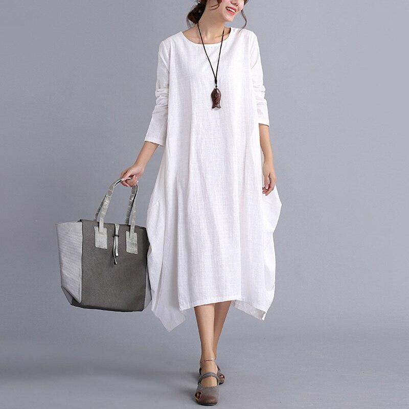 Mferlier Winter Autumn Dress Cotton Linen Women Cotton ...