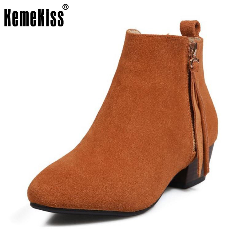 KemeKiss Ladies Real Leather Thick Med Heels Ankle Boots Female Round Toe Side Zipper Shoes Women Winter Warm Botas Size 33-41 new and original e3t fd11 e3t fd13 omron photoelectric sensor photoelectric switch 12 24vdc 2m