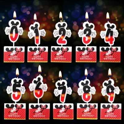 NEW Mickey Minnie Mouse Aniversário Vela 0 1 2 3 4 5 6 7 8 9 Aniversário Bolo Números Idade vela Fontes da Festa de Decoração