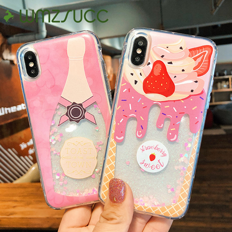 WMZSUCC Icecream Champagne Wine Quicksand Glitter Phone Covers For iPhone 6 7 8 Plus Liquid Case For iPhone X 6s