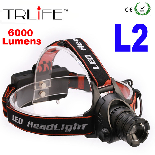 LED CREE XM-L2 Headlight 6000Lm Headlamp 3 mode Zoomable  Waterproof Head lamp Light Flashlight for Camping Fishing