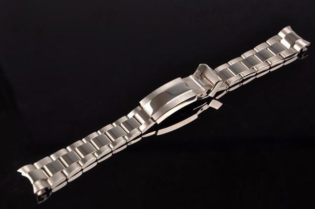 20mm Nova Prata Luxo Oriente Meia Polido e Escovado 316L Aço Inoxidável Sólido Final Curvo de Metal Watch Band Cinto pulseiras