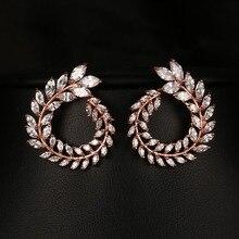 Emmaya дешевые женские серьги-гвоздики Высокое качество AAA чистый цвет кубический цирконий камень цветок Сережка заводская цена