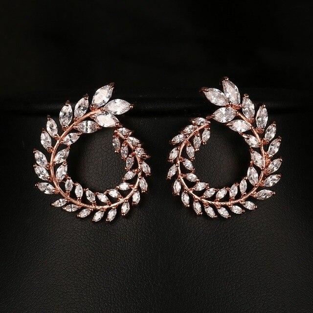 Emmaya Women Stud Earrings High Quality AAA Clear Color Cubic Zirconia Stone Flower Earrings