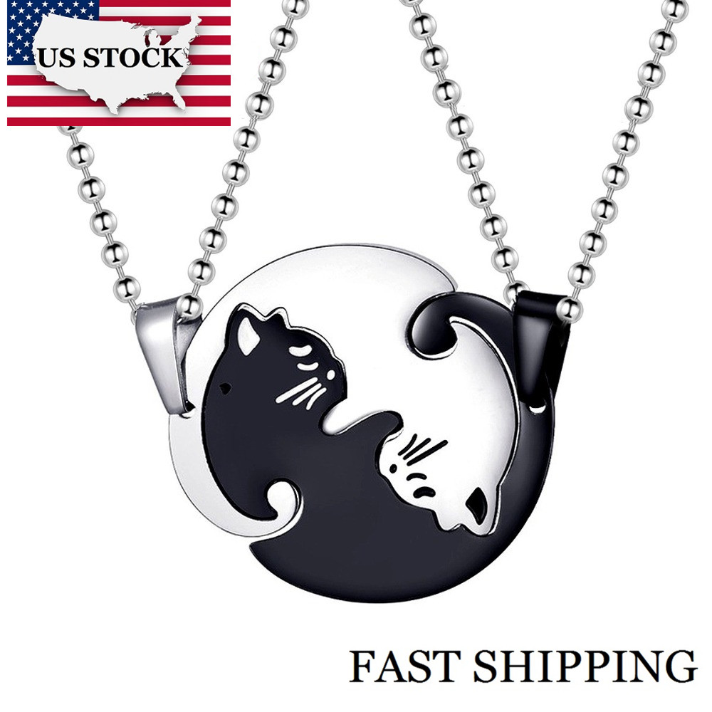 US STOCK Uloveido Halloween Matching Cat Necklaces Pendants for Men and Women Couple Necklace Pendant Stainless Steel SN156 bijoux fantaisie rose