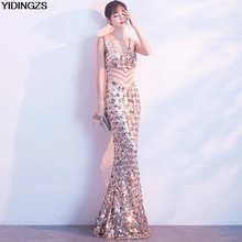 33b93dab YIDINGZS Gold Sequins Prom Dress Long Sparkle Women See-through Beads  Mermaid Maxi Party Prom Dress
