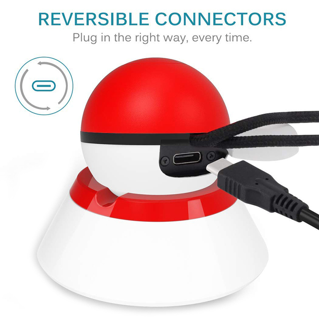 Nintend Switch NS Pokeball Eevee Controller Charging Dock Station, Poke Ball Plus Charger Stand Holder for Nintendo Switch Game 2