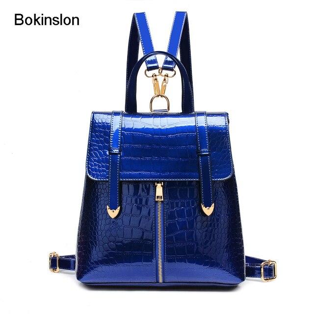 bokinslon crocodile femme sac dos de mode marque en cuir verni sac de fille sac dos casual. Black Bedroom Furniture Sets. Home Design Ideas