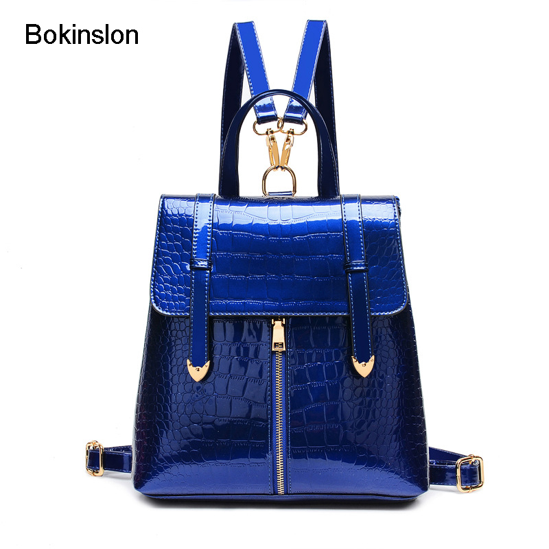 Bokinslon Crocodile Woman Fashion Backpack Brand  Patent Leather Bag Girl's Backpack Casual Creative Backpack Female woman in the summer of 2016 youth popular color patent leather crocodile pillow boston crossbody bag business mini pochette