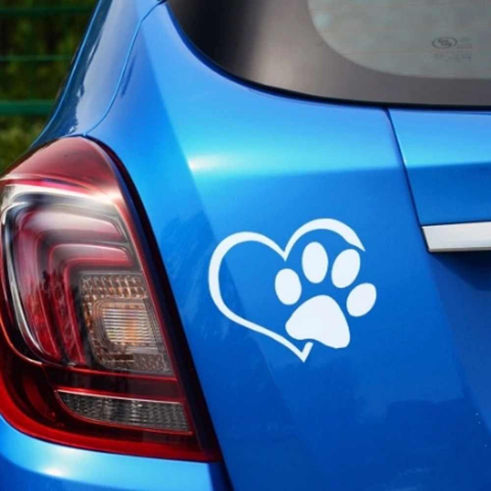 Nowy pies wzór w kształcie serca łapy naklejki samochodowe ślad odblaskowe Auto wodoodporny odporny na działanie słońca okno folii 3D naklejka
