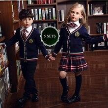 Spring Autumn fashion korean british school uniform for girls&boys Kindergartens kids Sweater skirt suit children clothing set