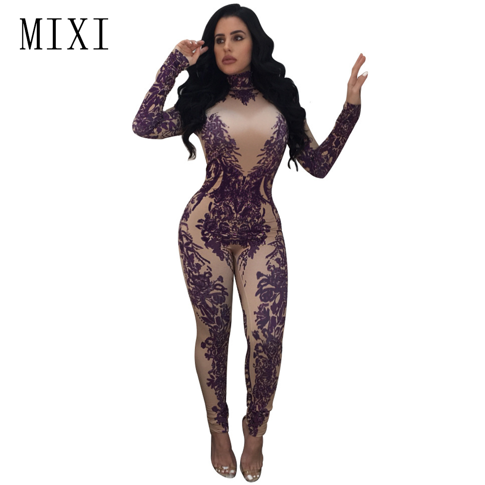 MIXI Spring Vintage Printed   Jumpsuits   Turtleneck Long Sleeve Night Club Rompers Womens   Jumpsuit   Skinny Long Pants Party Overalls