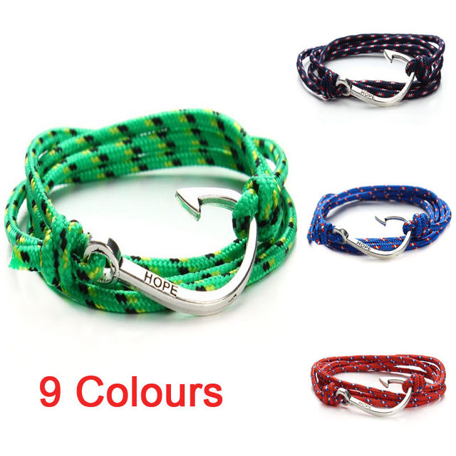 2016 New Tom Hope Anchor Bracelet Ancre Marine Cuir Homme Pulsera Ancla Fashion Leather Bracelets for Mens Women Jewellery F2835