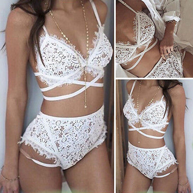 New Women's Sexy Lingerie Lace Underwear Vest Top G-string Bra Panty Set White
