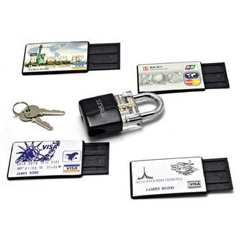 4 uds/lote herramienta tarjeta de crédito con candado transparente, 5 uds herramientas de práctica de cerrajería Extractor de llaves juego de ganzúas envío gratis