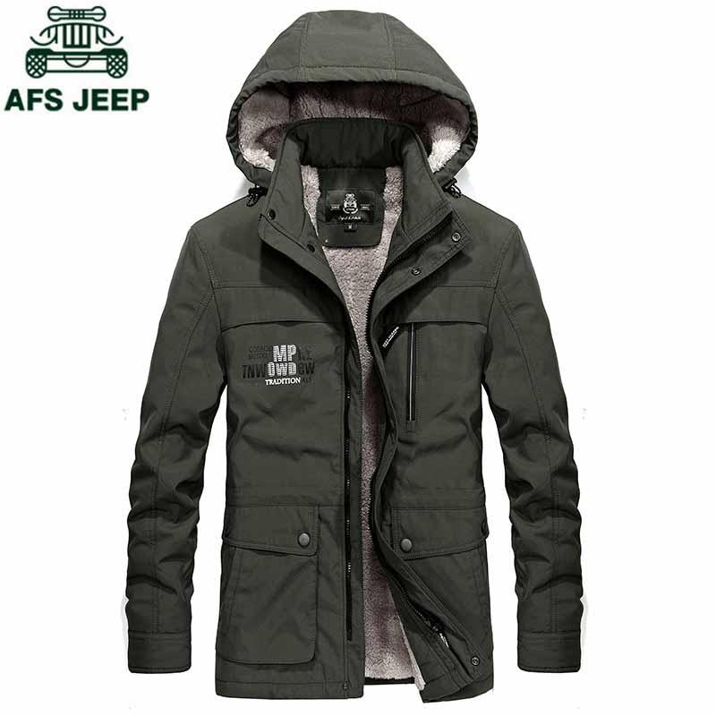 AFS JEEP Plus Size 4XL Winter Jacket Coat Men 2018 Casual Hooded Windbreaker Wool Liner Warm Mens Outerwear jaqueta masculina