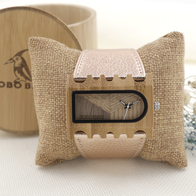 2017 BOBO BIRD Quartz Ladies Wooden Watch Genuine Leather Women Watches Fashion Brand Wristwatch relogio feminino