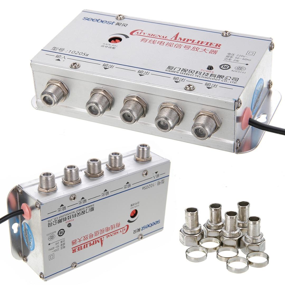 MAYITR 4Way CATV VCR TV Antenne Signalverstärker 20DB 45-860 MHz Geräuscharm Design Booster Splitter Für CATV