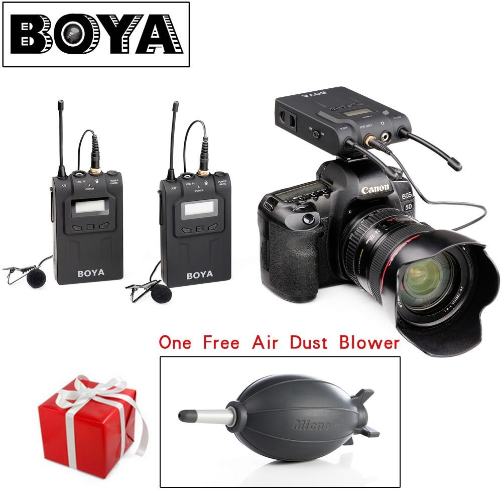 Boya by-wm8 uhf double sans fil micro-cravate systerm vbl interview mic 2 émetteurs et 1 récepteur pour dslr vidéo caméra