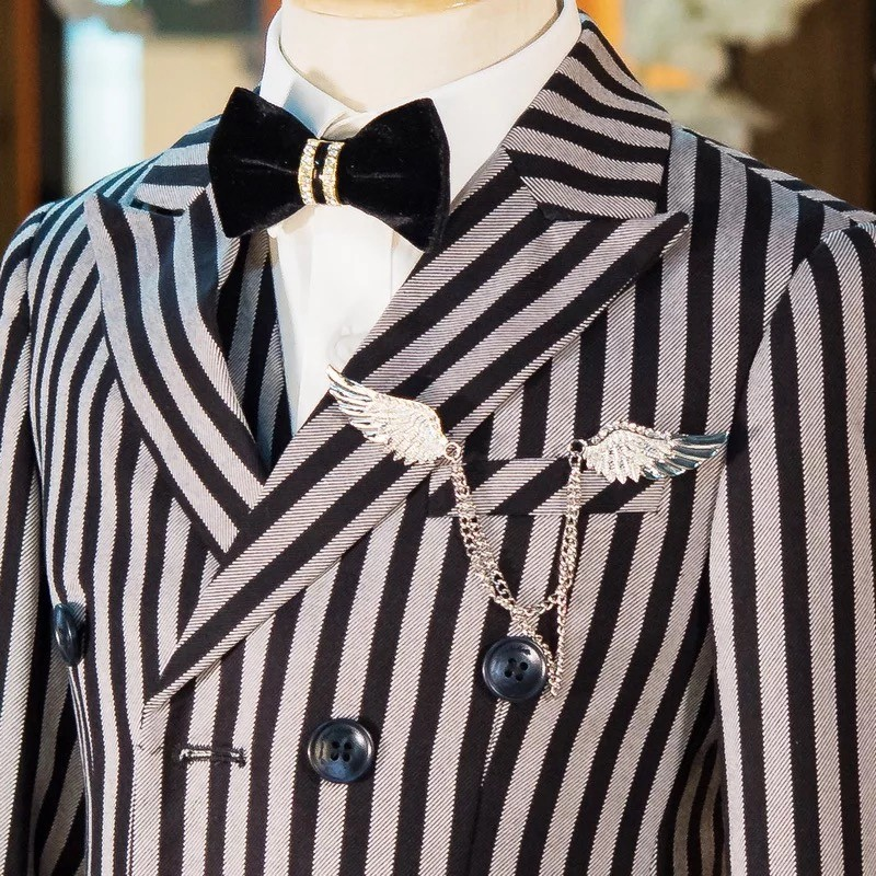 Children's Suits Toddle Boy Show Ring Blazer Suits Black White Stripe Catwalk Double Breasted Outfit