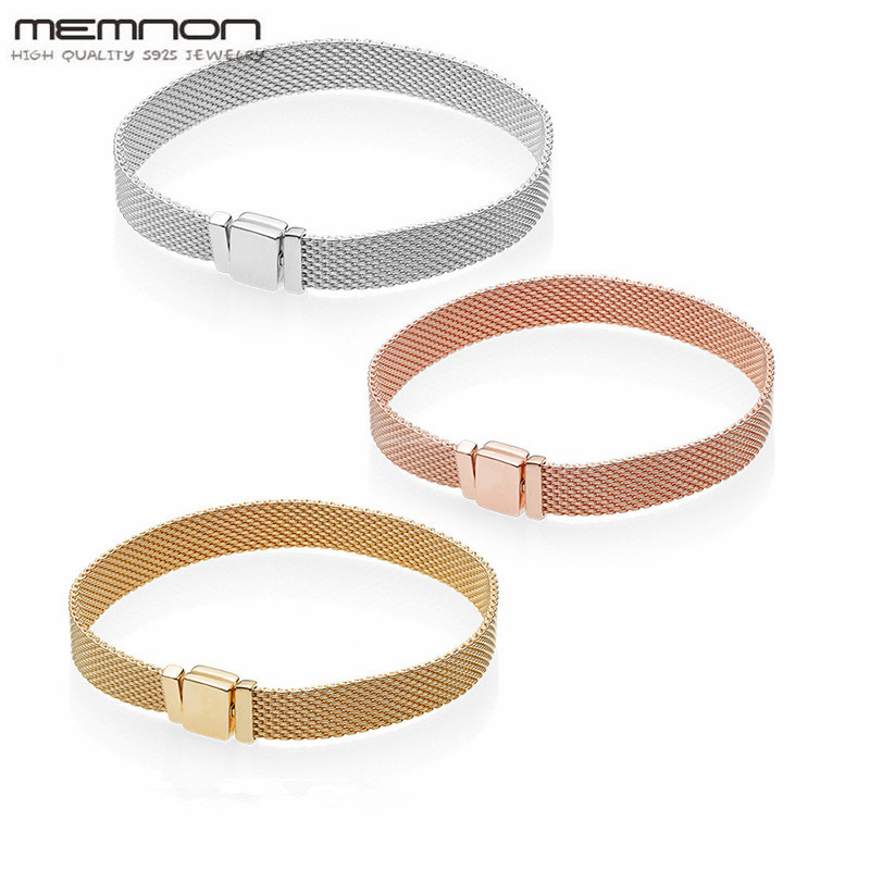 Memnon new Reflexions Bracelets for women jewelry 925 sterling silver bangles fit silver charms beads DIY for women fine jewelry 2018 summer new moments black leather hand chain bracelets fit 925 sterling silver jewelry charms beads diy for women br066