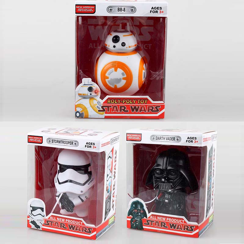All New Star Wars Stormtrooper Darth Vader BB8 BB-8 <font><b>Droid</b></font> Robot PVC <font><b>Action</b></font> <font><b>Figures</b></font> Toys Model Dolls 13cm Touch Light & Voice