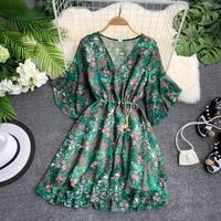 Girl Print V Collar Short Flare Sleeve Slim Waist Strap Chiffon Dress Women Print Elegant Vintage Vestidos G894