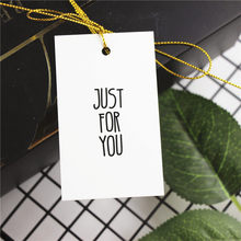 50pcs White Just For You Thank You Hand Made Hang tag Gift Decoration Labels for DIY Wedding Party Gift Supplies 4.5x7.5cm