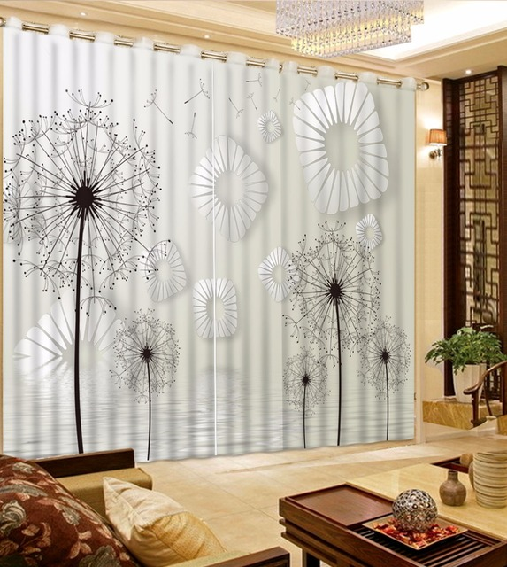 Black And White 3D Window Curtains Dandelion Blackout Curtains For Living  Room Bedroom Modern 3D Curtain