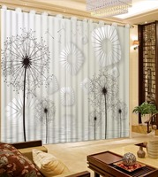 Black and White 3D Window Curtains dandelion Blackout Curtains For Living room Bedroom Modern 3D Curtain For Window Decoration