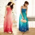 Beach Dresses 2015 summer new arrive fashion strapless spaghetti strap Bohemia print chiffon women dress 4365