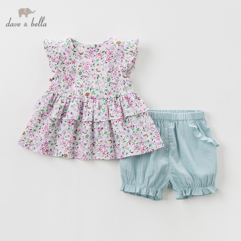DBM10600 Dave bella summer baby girl clothing sets floral children suits infant high quality clothes girls