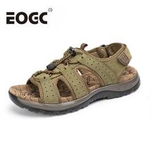 Moški sandali iz pravega usnja Poletne čevlje za na plažo Nova modna dihalna moška copata Cause Shoes Plus Size 45