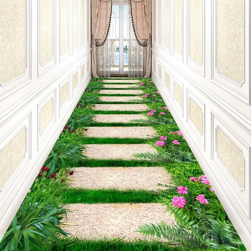 Pastoral Flower Stair Carpet Long Corridor Rug Home Entrance/Hallway Doormat Hotel Aisle Carpets Wedding Floor Mat Anti-Slip Rug