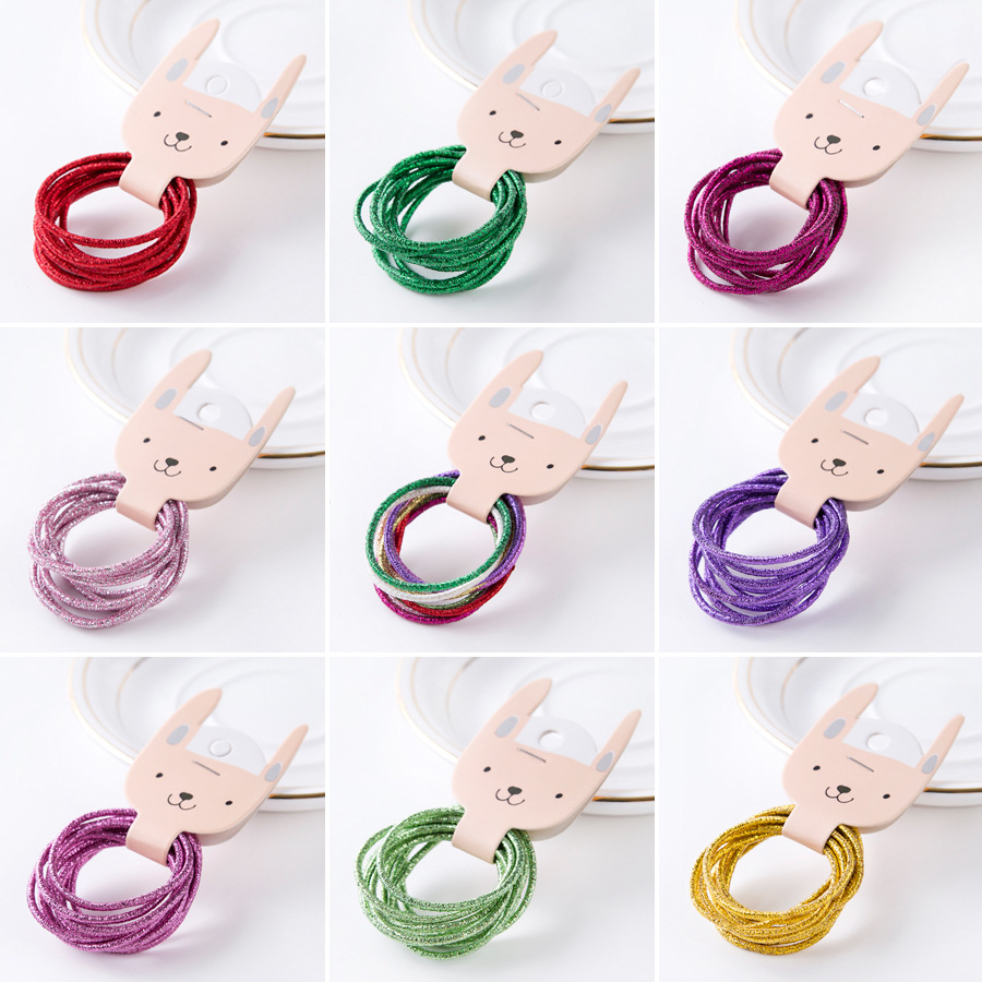 New 50pcs/Lot Mix Color Hair Rope Metal Bright Color Elastic Hair Bands For Women Girl Kids Hair Rubber Bands Hair Accessories new fashion cute double ball hair ring candy color rubber bands hair rope hair accessories for women girl children kids