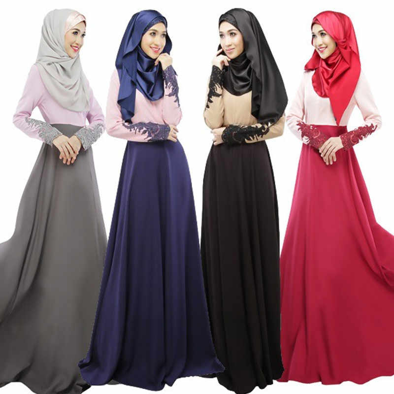 2019MagicPark S-XL Women Muslim Dress Denim Patchwork Panelled Long Sleeve Maxi Islamic Robo Moroccan Qatar UAE Oman Abaya Dubai