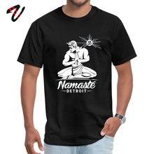 Namaste Detroit T Shirt Black White Rock Tops Tees Jiu Jitsu Men T-shirts Custom Casual Clothing TShirt 2019 New Fashion