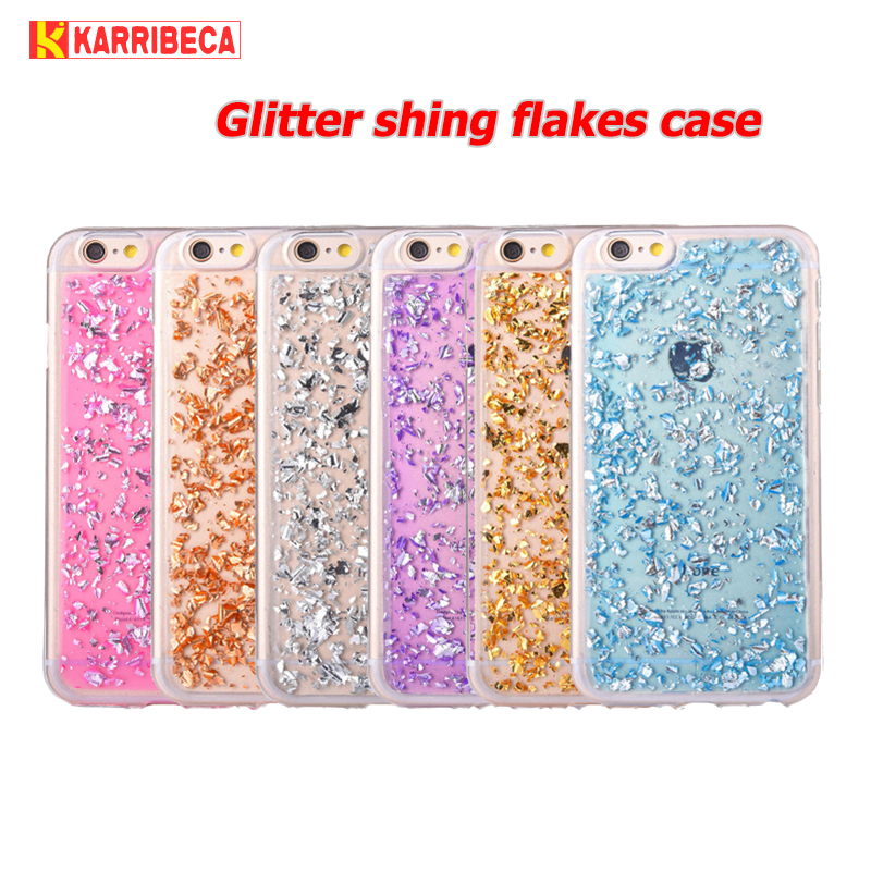 Glitter flake silicone case for iphone se 5 6 s funda hoesje Cute shining tpu cover for iphone 7 8 plus coque etui kryt tok husa
