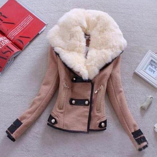Hot sale New Fashion Plus Size S-XXL Zipper Slim Solid Coat Jacket Women Woollen Casual Jacket Winter Autumn B070