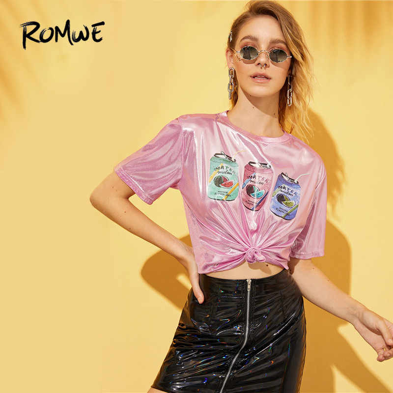 ROMWE High Street Pink Short Sleeve Metallic Tees Women 2019 Chic Drinks Print Streetwear T Shirts Summer Lady Tops Clothing