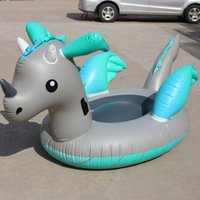 220cm Giant Silver Dragon Unicorn Pegasus Inflatable Pool Float Ride on Swimming Ring Water Toys For Adult Kid Air Mattress boia