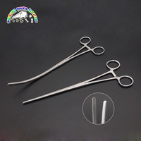 Pet Dog Cat Forceps Hamostatic bar Ear Cleaning Curved Clamp 25cm Stainless Steel Veterinary Twill Intestinal Forceps